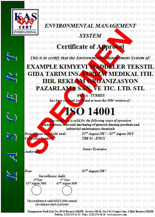 kas certification iso14001 environment sample certificate